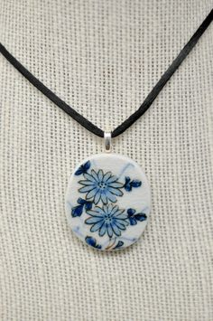 Vintage Blue Flowers Pendant Necklace Handmade from a