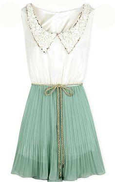 White Green Sleeveless Peter Pan Neckline Pleated Chiffon Dress