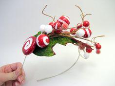 Whoville Inspired Peppermint Mistletoe Candy Headband  by jenjoy83, $30.00