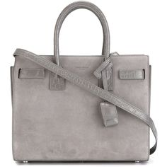 Saint Laurent small 'Sac de Jour' tote ($2,280) ❤ liked on Polyvore featuring bags, handbags, tote bags, purses, sac, ysl, grey, gray leather purse, leather hand bags and grey leather tote