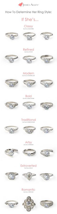 """What type of ring suits her best? This doesn't need to be a guessing game :-)  Find her dream engagement ring: browse certified diamonds and engagement rings in 360° HD <a href=""""https://www.jamesallen.com"""" rel=""""nofollow"""" target=""""_blank"""">www.JamesAllen.com</a> <a class=""""pintag searchlink"""" data-query=""""#jamesallenrings"""" data-type=""""hashtag"""" href=""""/search/?q=#jamesallenrings&rs=hashtag"""" rel=""""nofollow"""" title=""""#jamesallenrings search Pinterest"""">"""