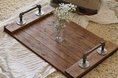 Rustic Industrial Tray Wooden Tray Ottoman Tray Coffee Table Tray Industrial Tray Rustic Tray Gifts for Him Industrial Decor Industrial House, Rustic Industrial, Industrial Bookshelf, Industrial Closet, Industrial Restaurant, Industrial Bedroom, Industrial Lighting, Industrial Design, Bookshelf Wall