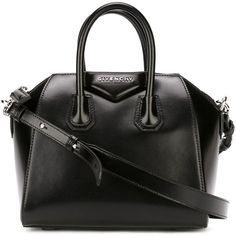 Givenchy Mini Antigona Tote (28,480 MXN) ❤ liked on Polyvore featuring bags, handbags, tote bags, black, mini tote, black leather tote, black purse, leather tote bags and black handbags