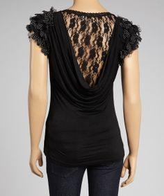Black Lace-Back Ruffle-Sleeve Top