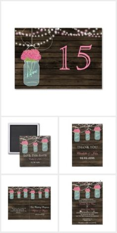 Pink Floral Barnwood mason jar Collection