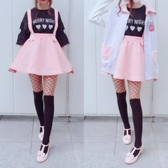 Cute Stretchy Kitty Skirt SAN51 | pastel goth, pink skater skirt,fishnet, thigh high socks, outfit
