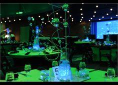 {Real Mitzvah} Glowing Mad Scientist B'nai Mitzvah Chemistry Wedding, Science Wedding, Science Party, Bar Mitsva, Computer Theme, Glow In Dark Party, Bar Mitzvah Themes, Balloon Centerpieces, Centerpiece Ideas