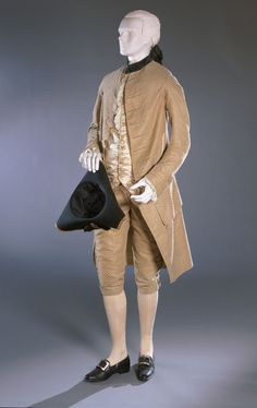 Man's Coat and Breeches  Artist/maker unknown, American  Geography: Probably made in United States, North and Central America Date: c. 1770 Medium: Silk uncut voided velvet with patterned warps and wefts Dimensions: Coat (center back length): 41 3/4 inches (106 cm) Coat (waist): 35 inches (88.9 cm) Breeches (length): 26 inches (66 cm) Accession Number: 1908-239,a