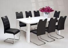 Tischgruppe Hochglanz Weiß Esstisch mit 8 Stühlen Schwarz 1256. Buy now at https://www.moebel-wohnbar.de/tischgruppe-hochglanz-weiss-esstisch-mit-8-stuehlen-schwarz-1256.html
