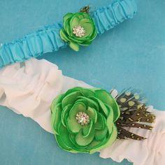 Blue and Green Wedding Garter Set B211  flower by HARTfeltart