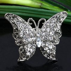 Clear Crystal Butterfly Cocktail Style Finger Ring Sz8 | eBay