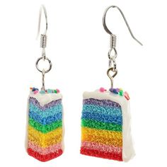 The Mouse Market: Rainbow Cake Earrings. I have no idea what I would wear these with, but they are too adorable not to pin. Jewelry Crafts, Handmade Jewelry, Clay Jewelry, Weird Jewelry, Rainbow Birthday, All That Glitters, Rainbow Colors, Making Ideas, Jewelery