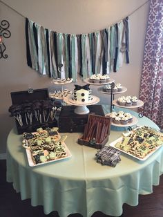 Little man birthday party. Mint black and white. Dessert table. 1st birthday.
