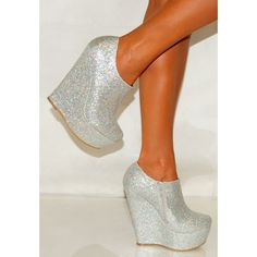 Koi Couture Ladies Silver Shimmer Wedge Ankle Boots