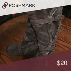 Tall grey boots with the fur trim and buckles Tall grey boots with the fur trim and wraparound buckles Shoes Lace Up Boots
