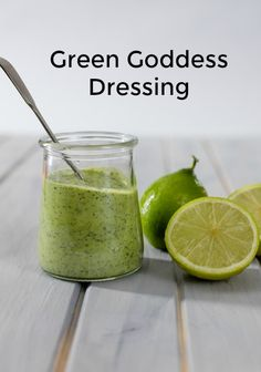 This dressing is so easy to make. It is delicious on all salads and even in a sandwich. Made with yogurt and mayonnaise it's a great way to use up fresh herbs. Goddess Dressing Recipe, Green Goddess Dressing, Healthy Family Meals, Healthy Snacks, Paleo Recipes, Great Recipes, Yummy Recipes, Marinade Sauce, Hot Pepper Sauce
