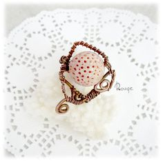 Coral ring wire wrapped ring copper ring wire ring wire jewelry stone ring wirewrapped ring statement ring wirewrapped jewellery Reef by RougeJewel on Etsy
