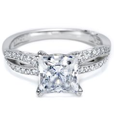 Simply Tacori Collection prong Set Princess Cut Diamond (.61cttw) Engagement Ring with Pave Diamond (.11cttw) Split Shank and Milgrain Trim Diamond .72cttw (shown with larger center stone)........oh my!!!!