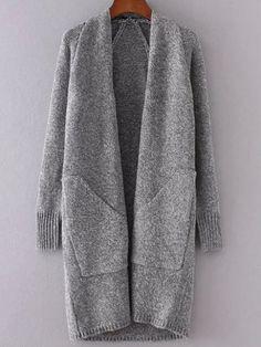 Veste pull longue sans col manche raglan avec poches - gris