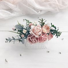 Beautiful hair comb made with blush peonies, roses, tulip, buds, eucalyptus, fern and greenery. Could be made with metal not plastic basic comb! Length of floral part is 6/ 15cm; width 2.7/7 cm. View my shop ➳https://www.etsy.com/ru/shop/SERENlTY Matching child crown