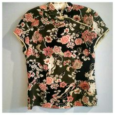 Kenzie floral silk Asian style top Beautifully styled short sleeved silk top with deep vermilion orange and ivory floral on olive and black background. 100% silk, black buttons from collar to left sleeve, zips down from mid back. High end New Zealand designer KenZie, not KenSie.‼️Ask me about FREE shipping‼️ kenzie Tops