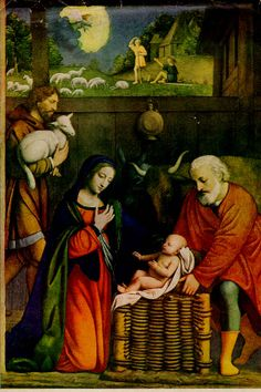 The Nativity - Luini - In the early 1500's the wealthy Italian Maestri family of Milan built a private chapel for which they wanted a special altarpiece. They finally gave the commission to their local artist, Bernardino Luini.