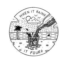 Here's to rainy Sundays ⛈ #jamiebrowneart #raining #pouring #soggy #sunday #rumday #bliss #darkandstormy #stayingin #tropical #gloom #palmtree #staychill #jb