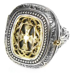 Gerochristo 2601 - Solid Gold & Silver Medieval Byzantine Poison Ring Poison Ring, Byzantine, Unique Rings, Filigree, Solid Gold, 18k Gold, Medieval, Pendants, Brooch