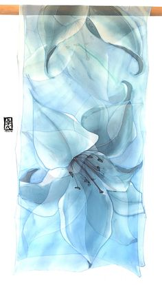 Hand Painted Silk Shawl, ETSY, Silk Chiffon Scarf, Blue Long Silk Wrap, Ethereal Blue Lilies Scarf, Silk Scarves Takuyo, 22x90 inches. 55x228 cm. I hand painted this lovely sheer silk scarf inspired by a beautiful bridal bouquet. The Etherial Blue Gray Lilies Scarf is an understated and elegant long and large silk scarf. The sheerness of chiffon silk makes this large silk unique and beautiful. This romantic and beautiful silk scarf will look great with Beige, Winter White, and of course…
