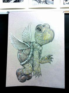 Realistic Koopa Troopa fan art, Drawn by (Art Teacher) Josh Newland