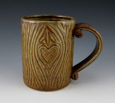 Handmade Pottery Mug  14 oz  Enchanted Heart by TwistedRiverClay