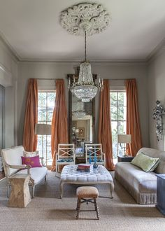 Neutral room with dramatic drapery color