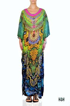 Animal Print Embellished Long Maxi Kaftan Dress