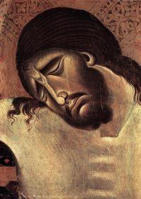 Cimabue, Crucifix (detail), 1268-71, tempera on wood, 336 x 267 cm, San Domenico, Arezzo
