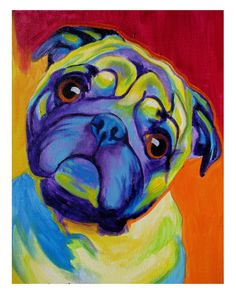 Colorful Pet Portrait, Pug Dog, Art Print 8x10 by Alicia VanNoy Call. $14.00, via Etsy.