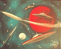 EL GATO GOMEZ PAINTING RETRO 1960S OUTER SPACE SHIP ROCKET SCI-FI FUTURISTIC #Modernism