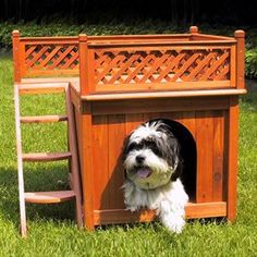 Daisy might want a balcony on her dog house too... I'd love to get this made for her