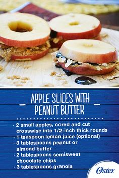 Directions: Spread one side of half of the apple slices with peanut or almond butter then sprinkle with chocolate chips and granola. Top with remaining apple slices, pressing down gently to make the sandwiches. Transfer to napkins or plates and serve.