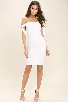Lulus Exclusive! The much anticipated Cause a Commotion White Off-the-Shoulder Dress is here and ready to party! This event ready dress is perfectly sexy as medium-weight stretch knit shapes an off-the-shoulder neckline with tying straps, atop a darted bodice and figure-flaunting skirt. Hidden back zipper.