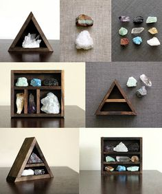 Items similar to Stone and Crystal Set and Dark Wood Curio Shelf Instant Collection on Etsy Crystal Shelves, Rock Collection, Collection Displays, Meditation Space, Wood Drawers, Displaying Collections, Diy Arts And Crafts, Stones And Crystals, Diy Furniture