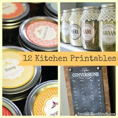 Organize with 12 Printables for Your Kitchen {Pretty & Free}... #diy #organize