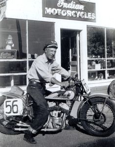 "J.C. ""Pappy"" Hoel on his Indian at Sturgis, SD 1938"