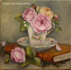 The favorite book &  rose bouquet  Original oil  par HelenFlont,