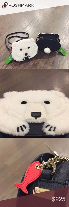 """❄️ Kate Spade polar bear crossbody ❄️ Kate Spade """"cold comforts"""" crossbody bag in navy and white. (With red fish on zipper and black eyes and other details.) Really adorable and perfect for the holiday season either for yourself or a gift for someone special. Has pockets inside but no additional zipper. Strap is navy and includes gold chains. kate spade Bags Crossbody Bags"""