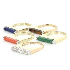 Vintage Set of 5 Stack Rings 14k Yellow Gold Diamond Coral Matachite Estate Jewelry Sz 6.5 6 1/2