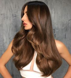 """Gorgeous look from using """"Bronze Metallics"""" collection coming in April! Prelightened to a level 8 with Kenra Lightener and and overlayed tonality with Demi. Brown Hair Shades, Brown Hair Colors, Dark Chocolate Hair, Hair Color Formulas, Hair Color And Cut, Aesthetic Hair, Dream Hair, Brunette Hair, Gorgeous Hair"""