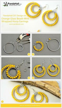 Jewelry Making Tutorials Orange Glass Beads Wire Wrapped Hoop Earrings Use the pliers to wrap the aluminum wires into a big hoop and a small hoop,. Jewelry Making Tutorials Orange Glass Beads Wire Wrapped Hoop Earrings Use the pliers to wrap the Wire Wrapped Earrings, Wire Earrings, Earrings Handmade, Crochet Earrings, Diamond Earrings, Bridal Earrings, Diy Thread Earrings, Crystal Earrings, Stud Earrings