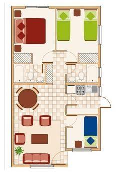 plano de vivienda 56m2 Más Small House Layout, Small House Design, House Layouts, Small House Floor Plans, My House Plans, Pinterest Room Decor, Minimal House Design, 2 Bedroom House Plans, Casas Containers
