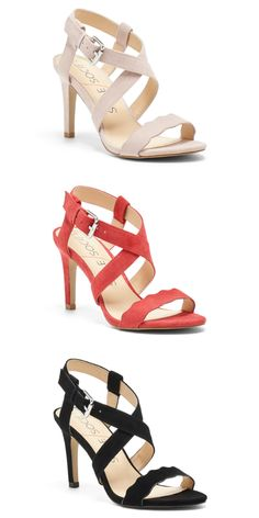 Scalloped suede sandals in rose, soft coral and black | Sole Society Seraphina