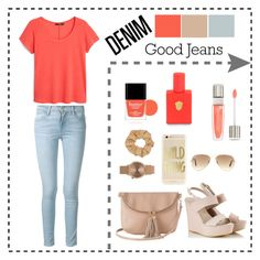 """Jeans Style"" by fleuramour on Polyvore featuring Frame, MANGO, Warehouse, Alberto Guardiani, Ray-Ban, Topshop, Butter London, Lancôme and Kelly Wearstler"